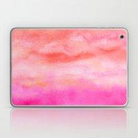 Bright pink orange sunset watercolor hand painted Laptop & iPad Skin