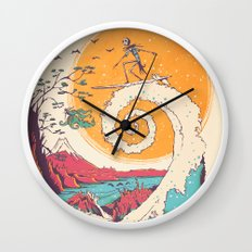 Surf Before Christmas Wall Clock
