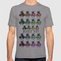 Knitting Sheep On Balls Of Yarn/Wool Mens Fitted Tee Athletic Grey SMALL