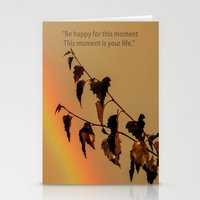 Rainbow and copper leaves Stationery Cards