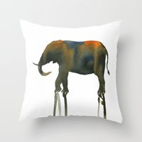Watercolor: African Elep… Throw Pillow