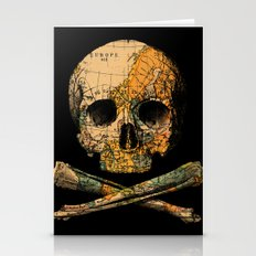 Treasure Map Skull Wanderlust Europe Stationery Cards