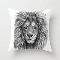 Lion-  portrait SK073 Throw Pillow