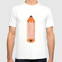 The Chunky Pencil Mens Fitted Tee White SMALL