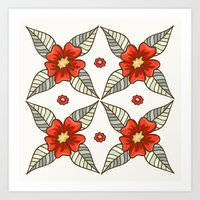 Guild of flowers and leaves Art Print