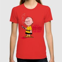 You're a Bad Man Charlie Brown Womens Fitted Tee Red SMALL