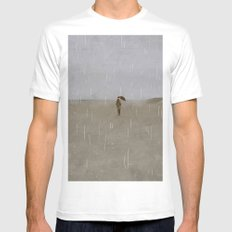 rainy day at the beach SMALL Mens Fitted Tee White