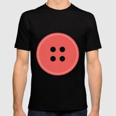 #63 Button SMALL Mens Fitted Tee Black