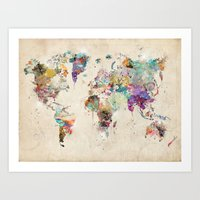 world map rustic Art Print