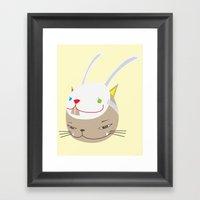 CAT WITH RABBITZ MASK Framed Art Print