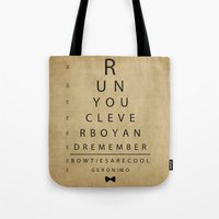 Run You Clever Boy - Doctor Who Vintage Eye Exam Chart Tote Bag