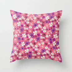 Retro Pink Flowers Throw Pillow