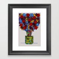 Geometric Flowers Framed Art Print
