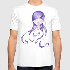Feeling Blue SMALL Mens Fitted Tee White