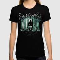 A Quiet Spot (in Green) Womens Fitted Tee Black SMALL