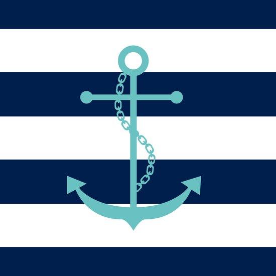 Aqua Anchor Shape on Wide Stripes Pattern Art Print