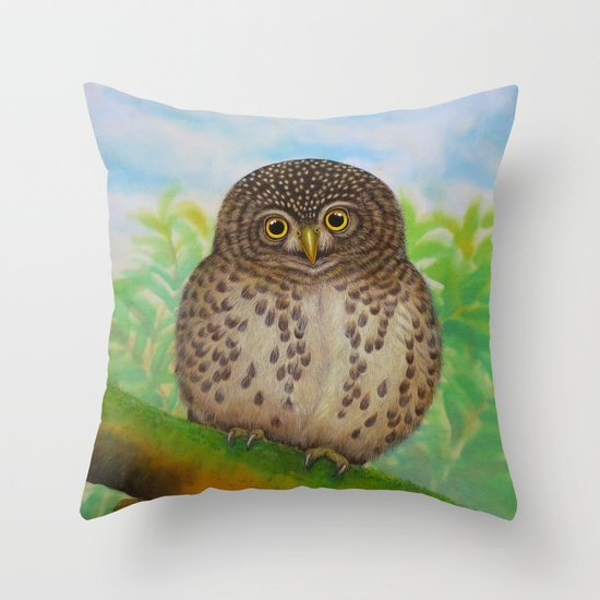 Collared Owlet Throw Pillow