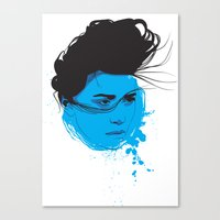 Black, blue & white I Canvas Print