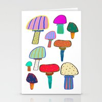 Mushrooms, mushroom print, mushroom art, illustration, design, pattern,  Stationery Cards