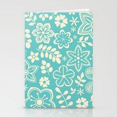 blue winter floral garden Stationery Cards