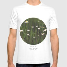 Daisy Days White Mens Fitted Tee SMALL