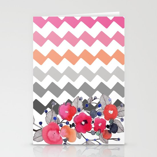 Colourful Flowers and Zig Zags Stationery Card