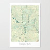 Columbus Map Blue Vintag… Canvas Print
