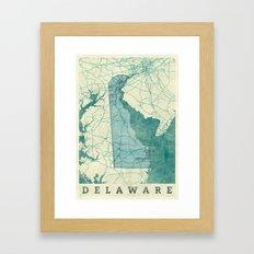 Delaware State Map Blue Vintage Framed Art Print