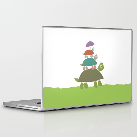 Turtles in the rain Laptop & iPad Skin