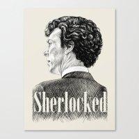 Sherlocked - Sherlock Holmes Benedict Cumberbatch Crosshatch Etching Canvas Print