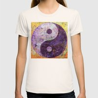Purple Yin Yang Womens Fitted Tee Natural SMALL