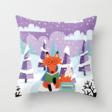 Fox And Books - Purple Throw Pillow