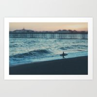 the lone surfer ... Art Print