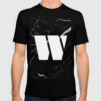 Black Marble - Alphabet W Mens Fitted Tee Black SMALL