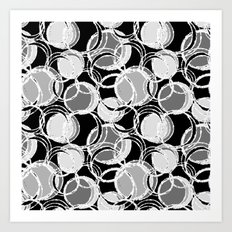 Simple circles on black Art Print