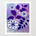 White Flowers on Navy Leaves Art Print