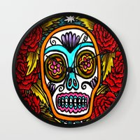 Sugar Skull And Roses - … Wall Clock