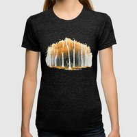 Autumn Wolf Womens Fitted Tee Tri-Black SMALL