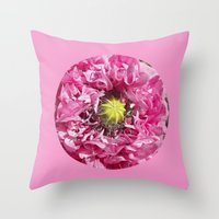 Pink Poppy Macro XII Throw Pillow