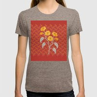 Flowers Red Pattern Womens Fitted Tee Tri-Coffee SMALL