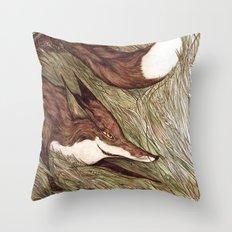 La Ruse du renard (The Sneaky Red Fox) Throw Pillow