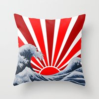 Great Wave of the Rising Sun Throw Pillow