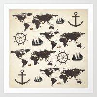 Nautical Exploration Art Print