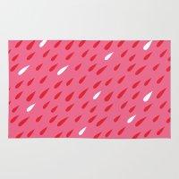 Red + Pink Droplets Rug