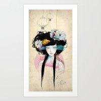 fish Art Prints featuring Nenufar Girl by Ariana Perez