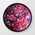 WRAPPED IN STARLIGHT Bold Colorful Abstract Acrylic Painting Galaxy Stars Pink Red Purple Ombre Sky Wall Clock