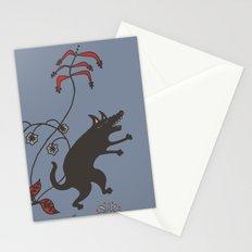 Black Dog Dancing in a Gorey Garden Stationery Cards