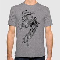 Steampunk Kokopelli Original Pen and Ink Design Mens Fitted Tee Athletic Grey SMALL