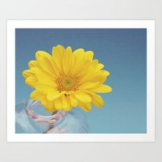Yellow and Blue floral macro print Art Print
