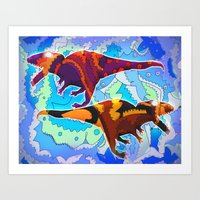 Dinosaur Collaboration Art Print